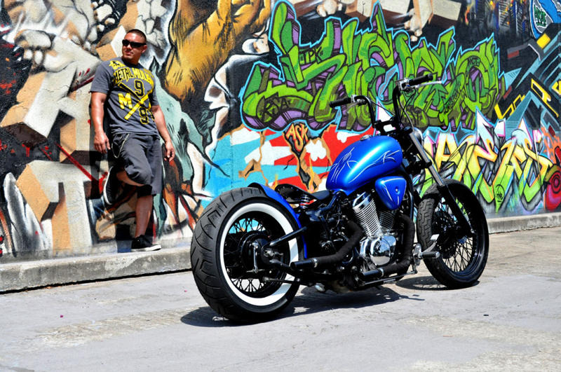 Candy Blue Satin Bobber Houston Retro Bobbers